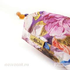 Компактный складной зонт сиренево-розовый с цветочками, АртРайн