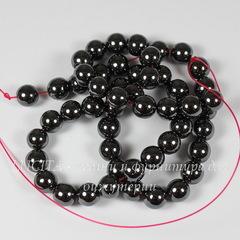 Бусина Гематит (искусств., категория A), шарик, цвет - темно-серый, 8 мм, нить