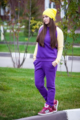 Свитшот костюм цвет фиолетовый с желтыми рукавами SASHA JUNIOR