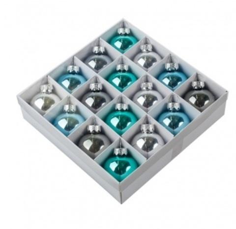 Набор шаров 16шт. (стекло), D4см, серебряно-бирюзовый микс