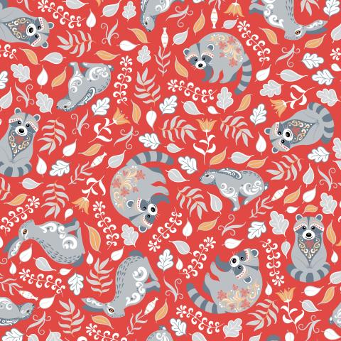 Еноты и зайцы на красном фоне. (Дизайнер Irina Skaska)