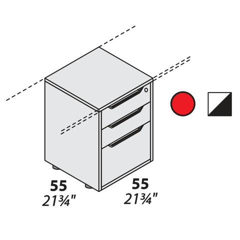 Тумба офисная 3 ящика опорная 550 мм LOGIC
