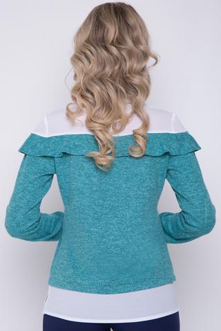 <p>Современная блузка пастельных тонов. Сочетание двух тканей придаст изюминку Вашему образу. Рукав длинный на манжете..Длина изделия/рукава-44-50=63см./59см.</p>