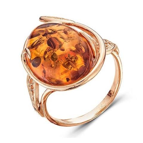 Кольцо с янтарем и позолотой