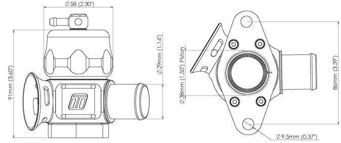Размеры блоу офф Turbosmart Dual Port Nissan Skyline GTR