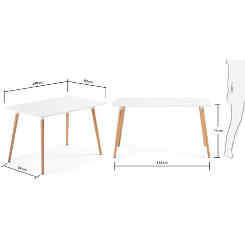 Стол Daw 140x80 белый