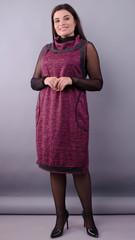 Нина. Трикотажное платье больших размеров. Бордо.