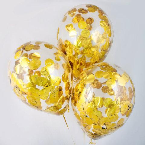 Воздушные шары с золотым конфетти
