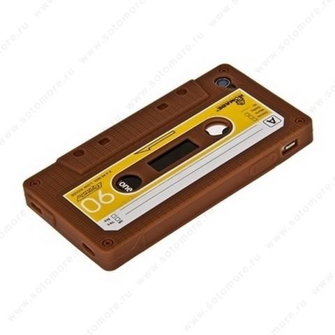 Накладка силиконовый для iPhone 4s/ 4 кассета коричневый