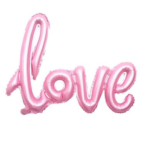 Фольгированная надпись LOVE розовая