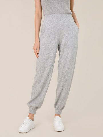 Женские брюки светло-серого цвета из шерсти и кашемира - фото 4