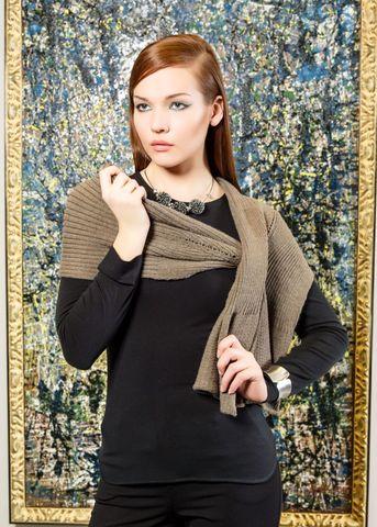 Фото теплый бежевый шарф с ажурной вязкой - Шарф Ш806-027 (1)