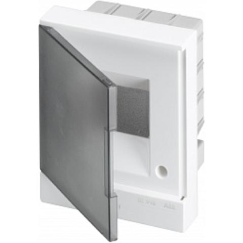 Бокс в нишу Basic E 4-модуля прозрачная дверь. Цвет Белый. (с клеммами) 160mm*180mm*105mm IP40. ABB. 1SZR004002A1201