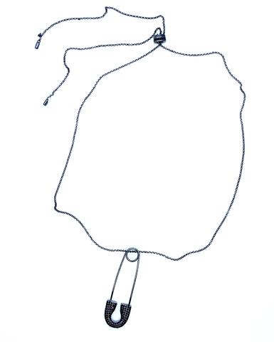 Колье с булавкой из черного серебра в стиле APM MONACO