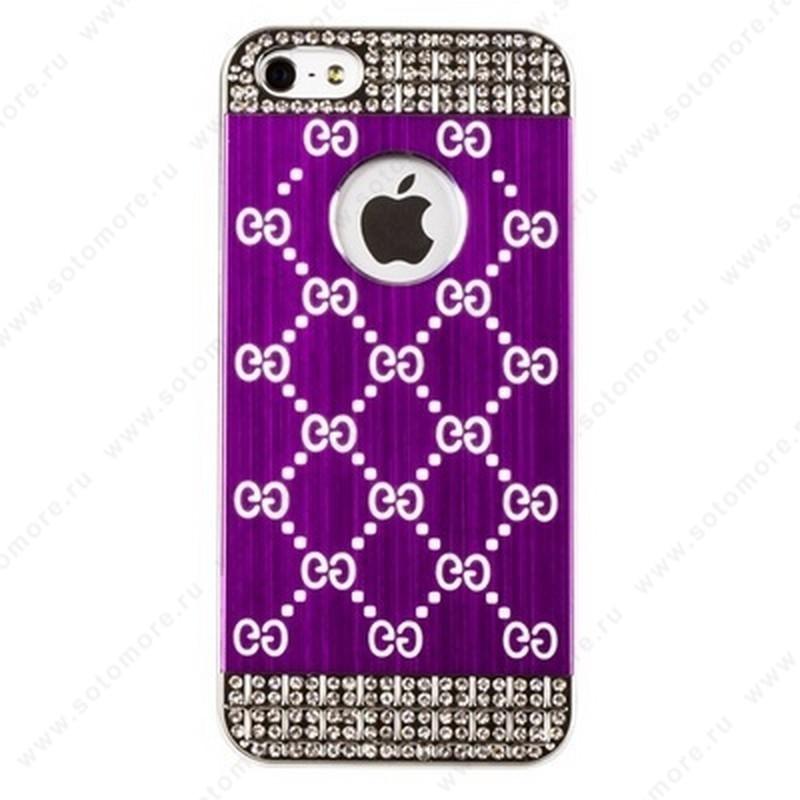 Накладка CHANEL металлическая для iPhone SE/ 5s/ 5C/ 5 золото ярко-розовая