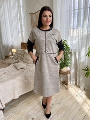 Ярослава. Удобное стильное платье плюс сайз. Бежевый