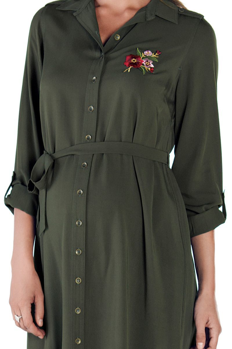 Фото платье-рубашка для беременных EBRU от магазина СкороМама, зеленый, размеры.