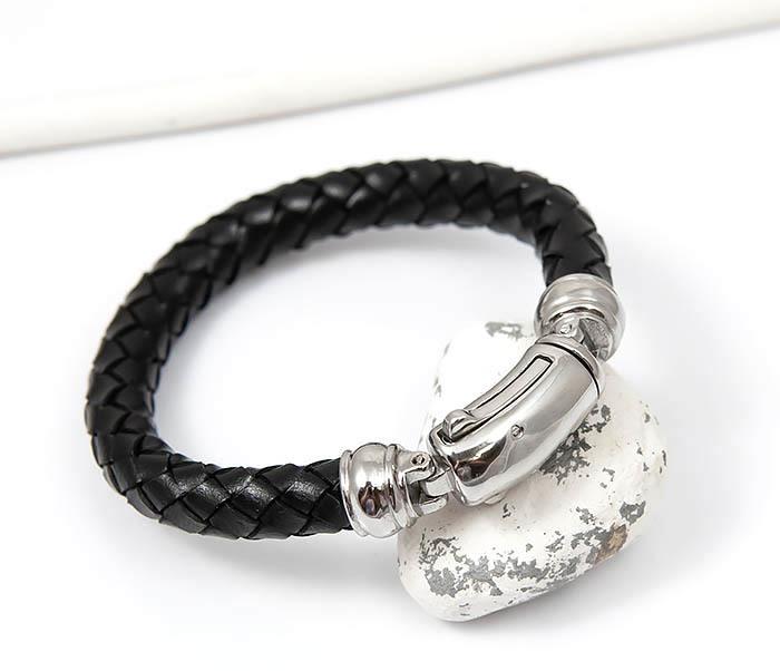 Фото - Браслет из толстого шнура со стальной застежкой мужской браслет из кожи со стальной проволокой 20 см