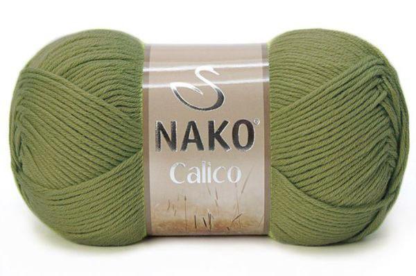 Пряжа Nako Calico хаки 11923