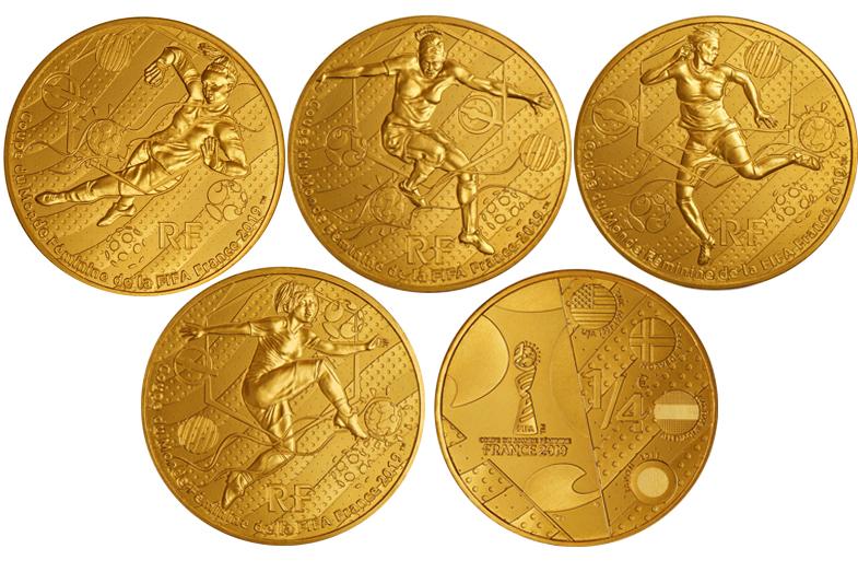 Набор из 4 монет 1/4 евро 2019 год. Чемпионат мира по футболу среди женщин во Франции 2019 год.
