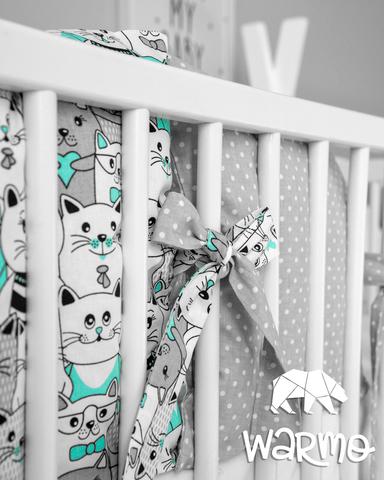 Набір бортиків-подушок в ліжечко 30x30см М'ЯТНІ КОТИКИ