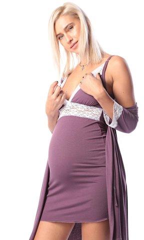 Euromama/Евромама. Комплект халат и сорочка с кружевом из вискозы, лиловый