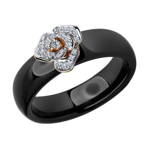 6015021 - Кольцо из золота с бриллиантами и чёрными керамическими вставками