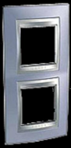 Рамка на 2 поста, вертикальная. Цвет Берилл-алюминий. Schneider electric Unica Top. MGU66.004V.098
