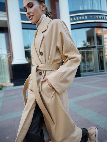 Пальто двубортное из шерсти и кашемира сливочный