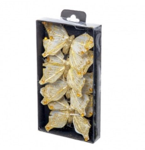 Набор бабочек с глиттером на прищепках 4шт., 10см, цвет: золото