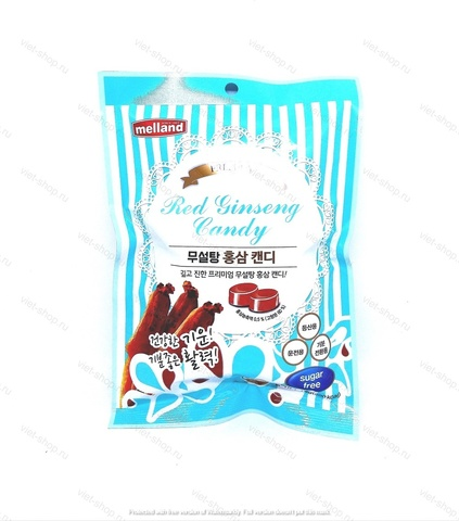 Карамель без сахара со вкусом красного женьшеня Melland Premium red ginseng candy sugar free, 74 гр.