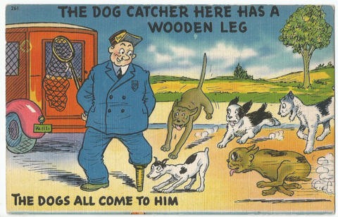 The Dog catcher here has a wooden Leg - The Dogs all come to him