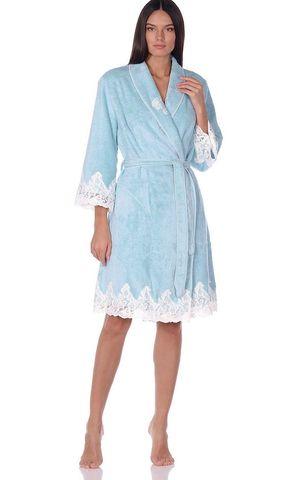 GLORIA ГЛОРИЯ бирюзовый женский бамбуковый халат Maison Dor Турция