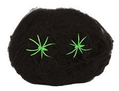 Паутина черная 2 паука (зеленые), 1 шт.