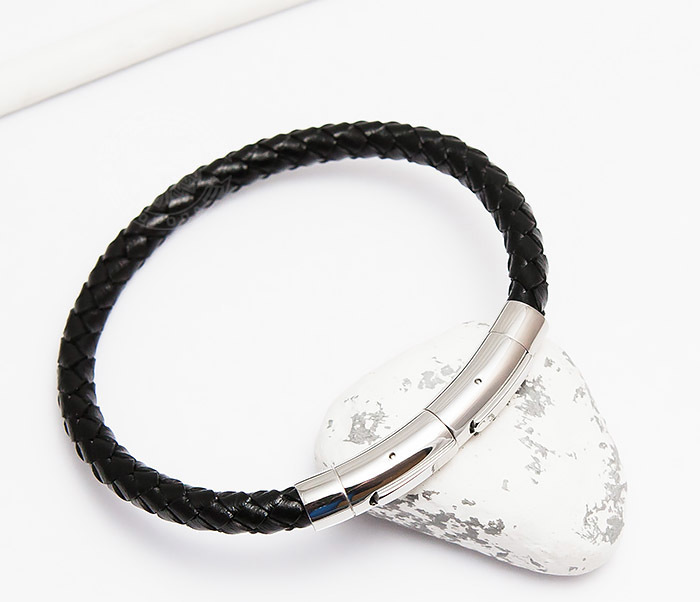 Monzo, Мужской браслет из плетеного шнура со стальной застежкой