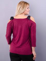 Феникс. Оригинальная блуза для больших размеров. Бордо.