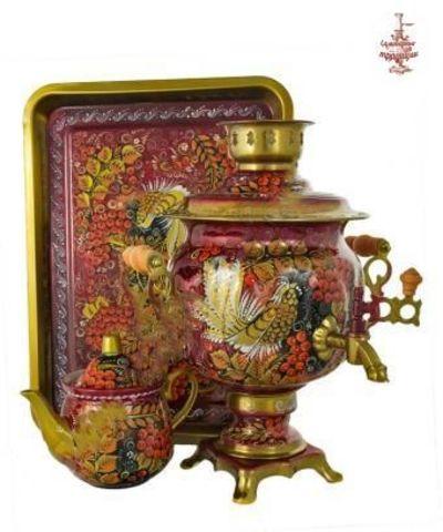 Самовар Рябина на бордовом электрический формой овал 3л в наборе с подносом и чайником