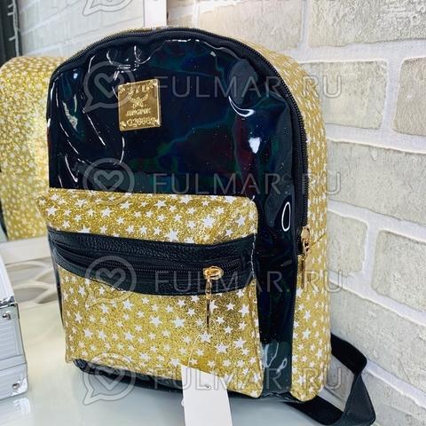 Рюкзак для девочки блестящий лаковый со звездами Черный с Золотистым