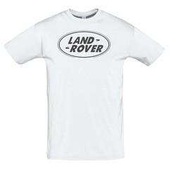 Футболка с принтом Ленд Ровер (Land Rover) белая 2
