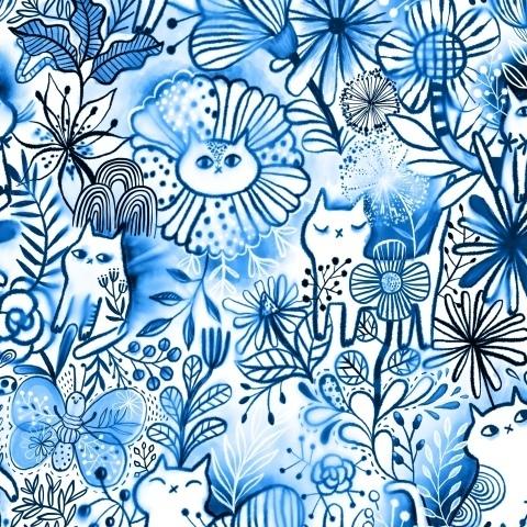 Задумчивые акварельные котики. Голубая мечта о лете.