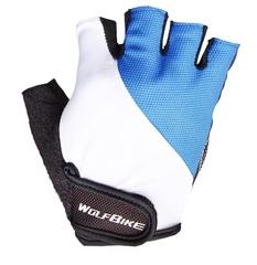 Велосипедные перчатки Wolfbike короткие (голубые)