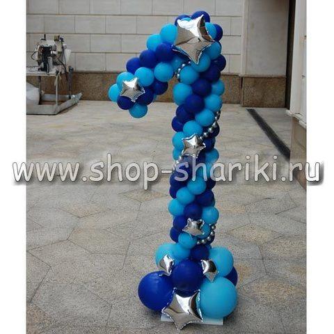 Цифра 1 из шаров для мальчика