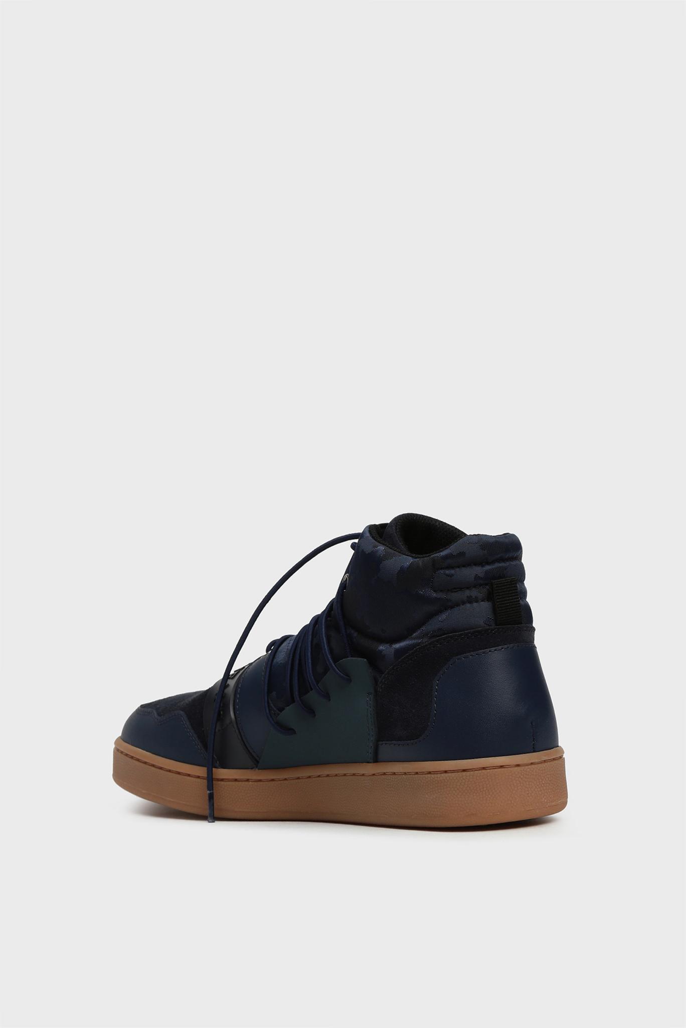 Мужские синие кожаные хайтопы Trussardi Jeans