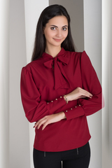 Маркиза. Красивая блуза с бантом. Бордо