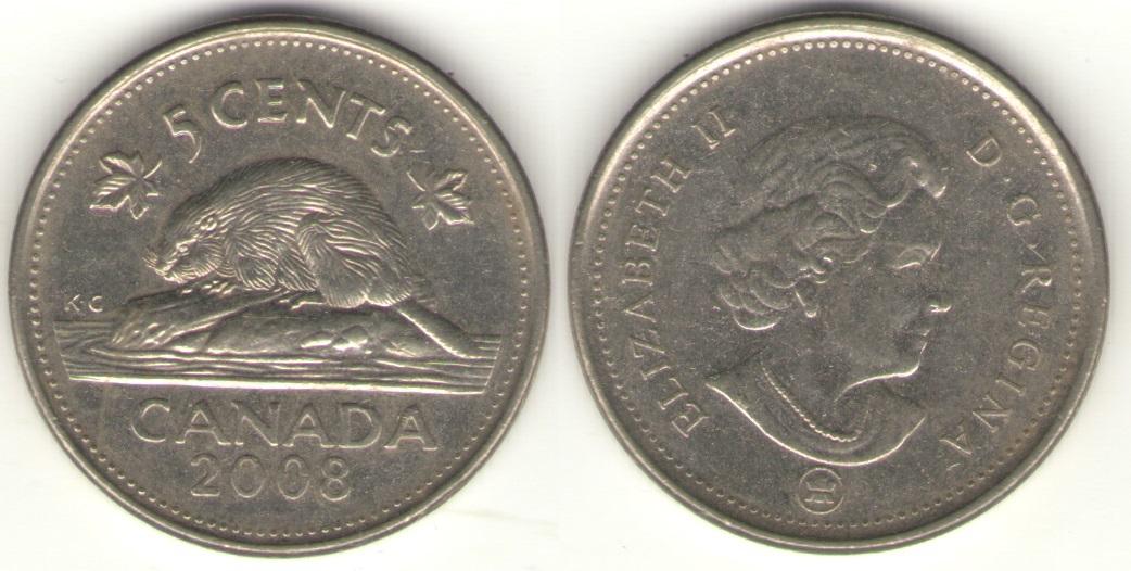 5 центов 2008 года. Бобр. Животные. Канада. UNC