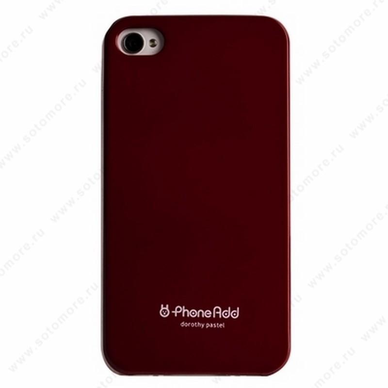 Накладка PhoneAdd пластиковая для iPhone 4s/ 4 бордовая