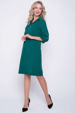 <p>Стильное платье на каждый день. Ворот на стойке с планкой на пуговицах. Рукав втачной 3/4 с патой. Прямой силуэт позволит скрыть все неровности фигуры. Длины: 44-92см; 46-93см; 48-94см; 50-96см; 52-98см</p>