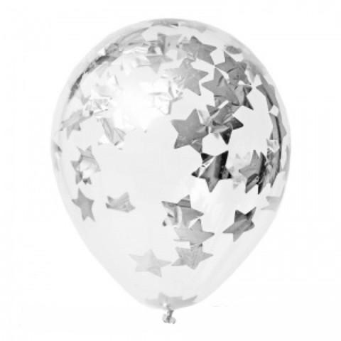 конфетти звезды серебро