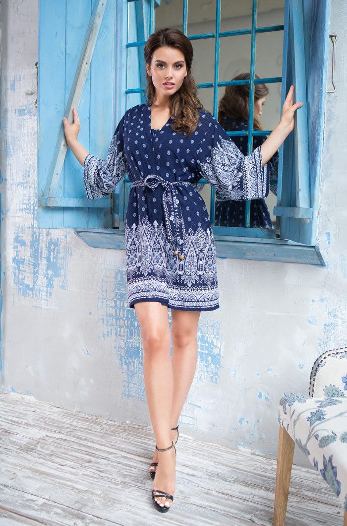 Шелковые халаты Халат женский  MIA-MIA  Leona ЛЕОНА 16213 16213_blue_big.jpg
