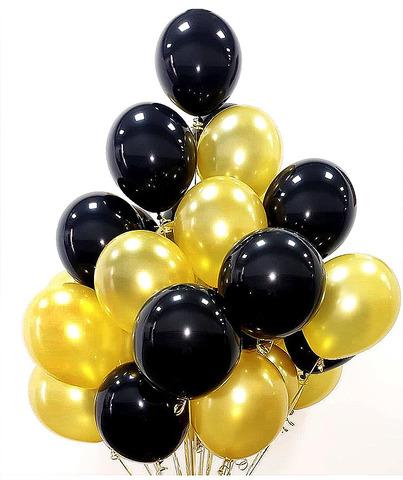 Воздушные шары с гелием Черно-золотые